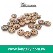 (#W0912) 14L 4 holes dark brown designer natural wood garment button