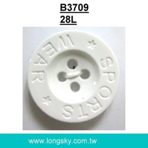 (#B3709/28L) 4 hole nylon plastic button with logo for sport wear