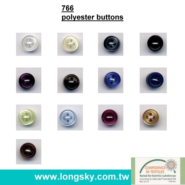 (#766-4HS) fancy white custom classic plastic polyester resin man shirt button