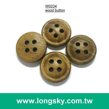 (#W0234) 4 hole coffee wooden garment button