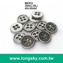 (MB1813/16L) 10mm 4 hole antique silver shirt metal clothes button in zinc alloyed material