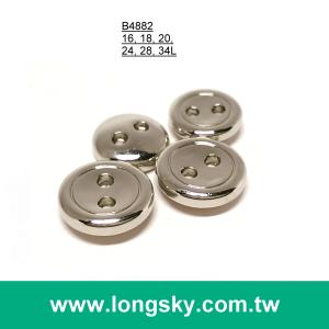 (#B4882) 16L 2-hole classic small size shiny silver coat button