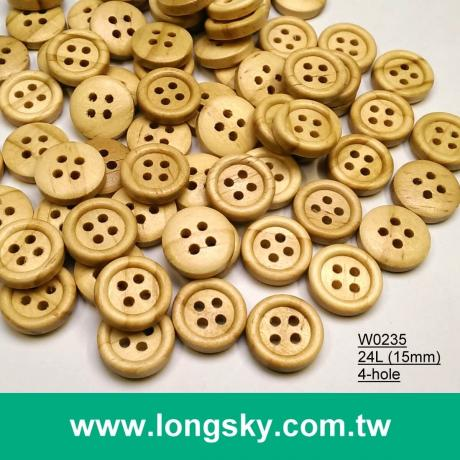 (#W0235) 24L 4 hole round natural wooden craft pants button