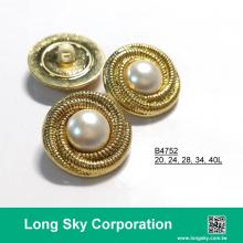 (#B4752/20L,24L,28L,34L,40L) 2-piece antique gold-pearl white combination button for lady overcoat