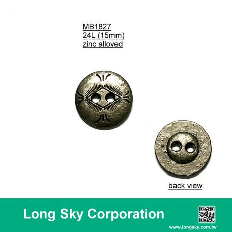 (MB1827/24L) 2-hole antique silver colour metal button for clothing
