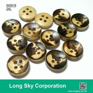 (#W0918) 2 hole 24L dophin pattern natural wooden animal buttons for kids