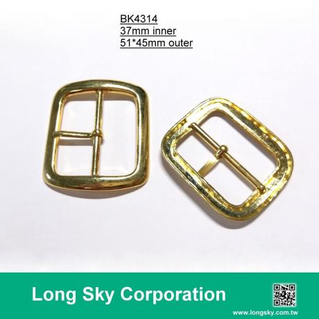 (#BK4314) 37mm inner gold color rectangle belt buckle
