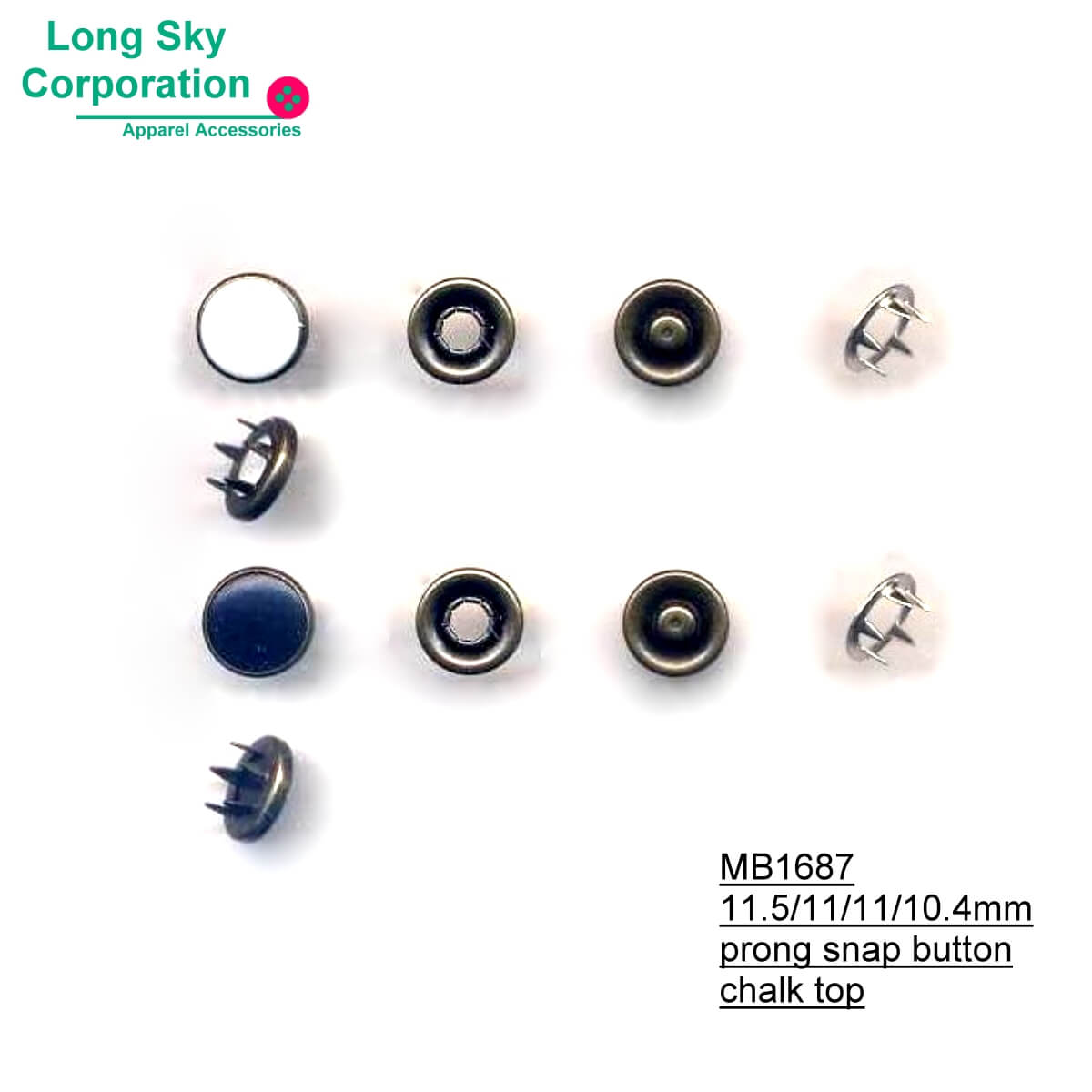 (MB1687) Colored eco friendly chalk resin top prong snap button for fashion garment