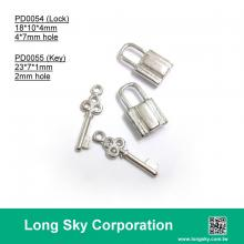 (#PD0054, PD0055) key and lock shape metal pendants for trimming decoration