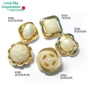 (B78X-1-1) 2-piece gold-pearl combined button for women suit