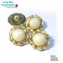 (#B7916/18L,20L,24L,28L,34L,40L) 2-piece combined pearl white gold rim button for lady suit