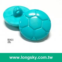 (#B3431) 28L sewing on soccer shape plastic nylon shank kids garment button