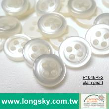 (P1046PF2) 18L, 16L, 14L Popular Plain Pearl Polyester Resin Shirt Button